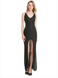 Sleeveless V-Neck Front Slit Lace Maxi Dress With Criss Cross Back