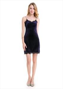 Spaghetti Strap Open Back Short Bodycon Dress With Lace Edge