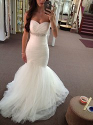 White Tulle Sleeveless Floor Length Mermaid Style Wedding Dress