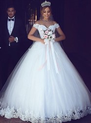 Classic White Ball Gown Floor Length Wedding Dresses With Lace Bodice