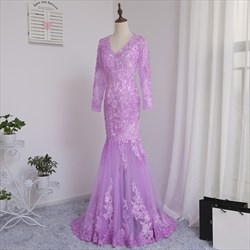 Violet Long Sleeve Lace Bodice Illusion Mermaid Bridesmaid Dress
