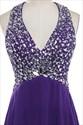 Eggplant Chiffon Sleeveless V Neck Bridesmaid Dress With Crystal Bead
