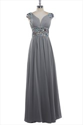 Simple Gray Chiffon Cap Sleeve Bridesmaid Dress With Beaded Waist