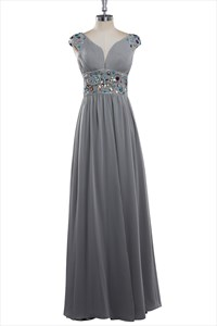 Simple Gray Chiffon Cap Sleeve Bridesmaid Dress With Beaded Waist