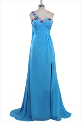 Vintage Aqua Blue Chiffon Beaded Neckline Bridesmaid Dresses With Split