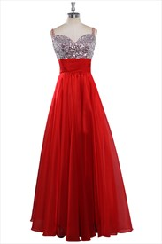 Red Satin Beaded Neckline Sleeveless Floor Length Prom Dress