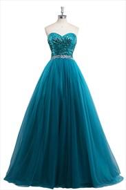 Aqua Blue Sequin Beaded Sleeveless Prom Dress With Beaded Waist