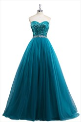 Aqua Blue Sequin Beaded Sleeveless Prom Dress With Beaded Waist