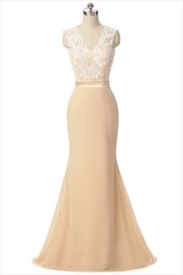 Champagne Coloured Chiffon Lace Bodice Cap Sleeve Mermaid Prom Dresses