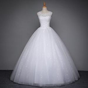 White Sleeveless Beaded Floor Length Ball Gown Wedding Dresses