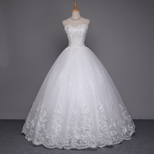 White Beaded Bodice Ball Gown Wedding Dresses With Lace Overlay