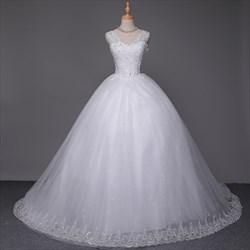 White Sleeveless beaded lace overlay Ball Gown Wedding Dress with train