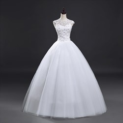 White Cap Sleeve Beaded Illusion Neckline Ball Gown With Lace Overlay