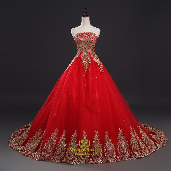 Vintage red lace overlay beaded ball gown wedding dress with Train