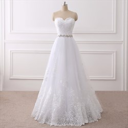 White Lace Overlay Floor Length Wedding Dress With Beaded Waist