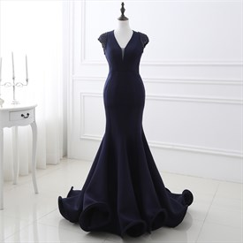 Navy Blue Backless Capped Sleeve Floor Length Mermaid Prom Dress