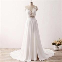 White Illusion Lace Bodice Chiffon Wedding Dress With Split And Train