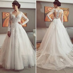 White V Neck Illusion Lace Bodice Ball Gown Wedding Dresses With Train