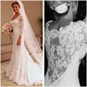 White Illusion Lace 3/4 Length Sleeve Mermaid Style Wedding Dresses
