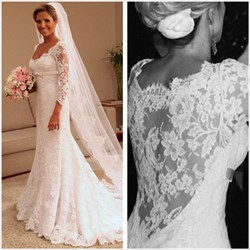 White Illusion Lace 3/4 Length Sleeve Mermaid Style Wedding Dresses