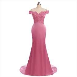 Pink Short Sleeve Off The Shoulder Mermaid Prom Dress With Lace Bodice