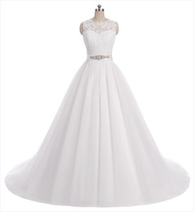 White V Back A Line Lace Bodice Beaded Waist Wedding Dress With Train