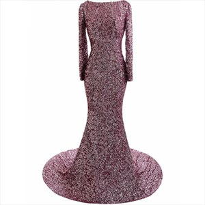 Purple Sequin Long Sleeve Mermaid Style Prom Dress With Court Train