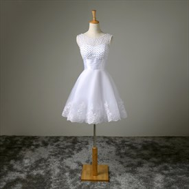 White Capped Sleeve A Line Short Wedding Dress With Beaded Bodice