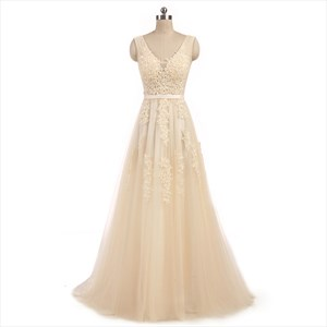 Tulle Sleeveless V Neck Lace Bodice V Back Prom Dress With Train