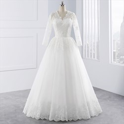 White Illusion Lace Sleeve V Neck Wedding Dress With Lace Overlay