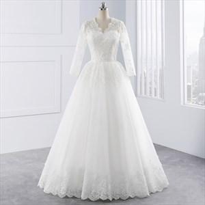 White Illusion Lace Sleeve V Neck Wedding Dress With Lace Overlay