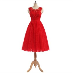 Red Lace Capped Sleeve Tea Length Illusion Lace Neck Homecoming Dress
