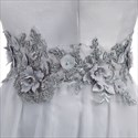 Gray tulle off the shoulder floor length prom dress with beaded waist