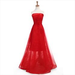 Elegant Red Tulle Strapless A Line Floor Length Prom Dress