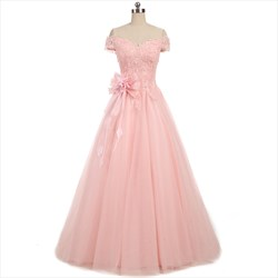 Pearl Pink Short Sleeve Off The Shoulder Prom Dress With Lace Bodice