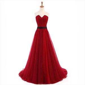 Burgundy V Neck Sleeveless Floor Length Backless Tulle Prom Dress