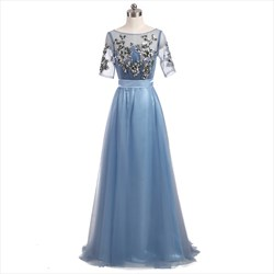 Light Blue Short Sleeve Floor Length Prom Dress With Sequin Bodice