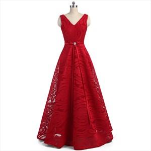 Red Lace V Neck Sleeveless V Back Floor Length A Line Prom Dress