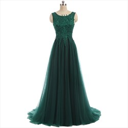 Emerald Green Tulle V Back Sleeveless Prom Dress With Lace Bodice