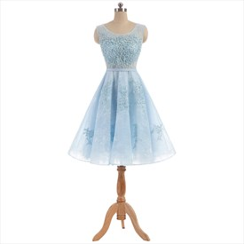 Light Blue Lace Capped Sleeve Beaded Homecoming Dress With Sleeves