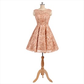 Blush Pink Cap Sleeve Knee Length Homecoming Dress With Floral Applique
