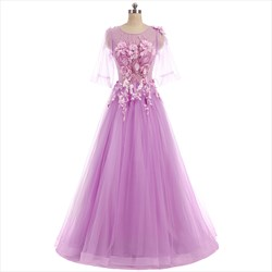 Light Purple Half Sleeve Floor Length Prom Dress With Floral Appliques