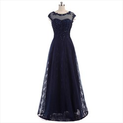 Dark Navy Beaded Lace Cap Sleeve Open Back Floor Length Prom Dress