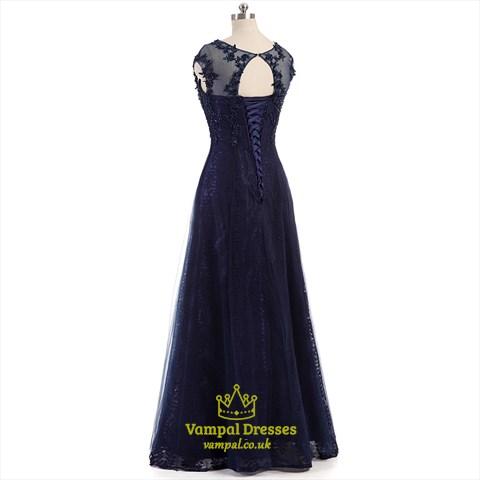 Dark Navy Beaded Lace Cap Sleeve Open Back Floor Length Prom Dress