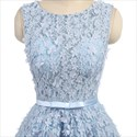 Light Blue Short Lace Sleeveless Prom Dress With Floral Appliques