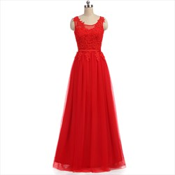 Red Sleeveless Backless Tulle Floor Length Prom Dress With Lace Bodice