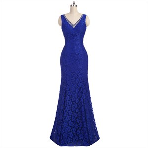 V Neck Sleeveless Beaded Neckline Lace Bodice Mermaid Prom Dress