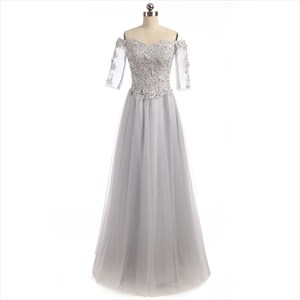 Gray Off The Shoulder Illusion Sleeve Prom Gown With Lace Bodice