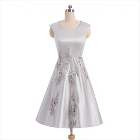 Cap Sleeve Tea Length Satin Prom Dress With Floral Applique