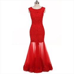 Red Cap Sleeve Beaded Bodice Lace Mermaid Style Prom Dress